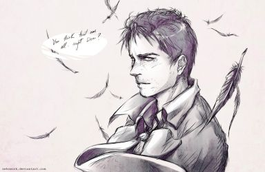 Castiel Digital Sketch by OkenKrow