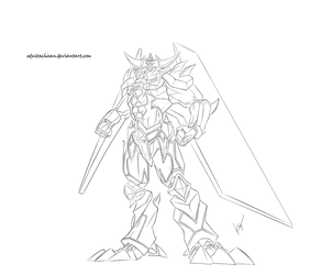 The Giant God Soldier of Obelisk- lineart by eduitachisan