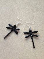 Beaded Dragonfly Earrings - Black by WhiteMagicPriestess