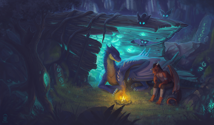 Camping in an enchanted forest by etrii
