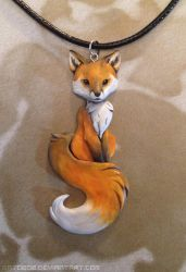 Red Fox Necklace by Gatobob