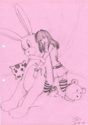 Find a heart on a pink bunny by BluishPale