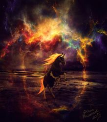 gold horse by whyou