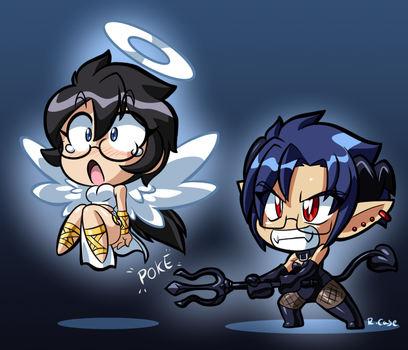 Chibi Angel and the Devil by rongs1234