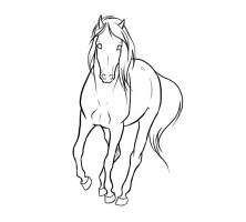 .Running Mare Lineart. by xRedLily