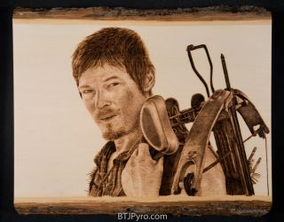 Daryl Dixon from 'The Walking Dead' - Woodburning by brandojones