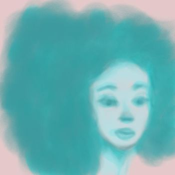 blue afro woman by restlesslimbs