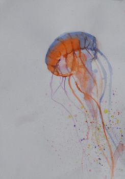 Float (jellyfish watercolour) by BeeTeaDubs