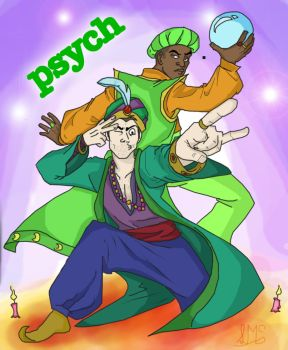 Psych Man and Magichead by marballz