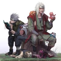 Jiraiya and Kakashi by inhyuklee