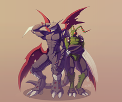 Commission: Stingmon and Cyberdramon by J3rry1ce