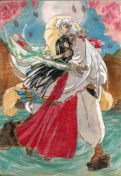 Sesshomaru and Kikiyo by RineWolve