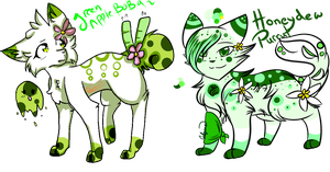 Green Apple Bobafox and Honeydew Purrut Auction by calogins