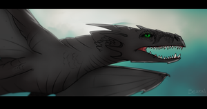 Art trade - Black dragon by Bezrail