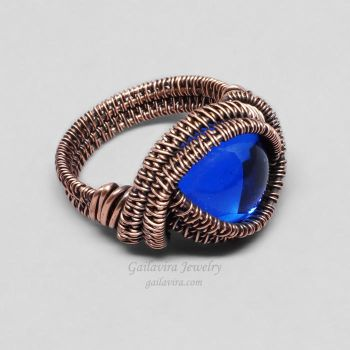Copper and Cobalt Blue Glass Ring by Gailavira