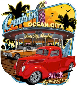 Cruisin' Ocean City 2016 T-Shirt by CRWPitman