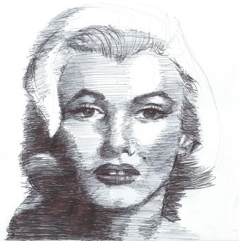 Pen drawing Marilyn Monroe (Norma Jean Baker) 2 by Barbarian-J