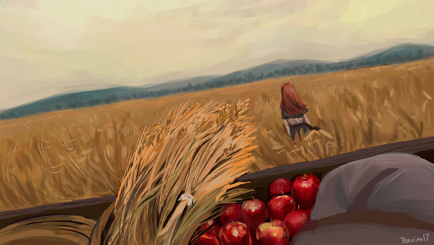 Wolf and Wheat Field by Teavian
