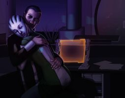 Mass Effect: Shepard x Liara by ghostfire