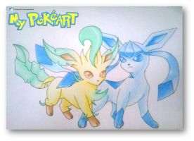 Leafeon-Glaceon by mypokeart