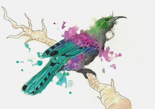 Watercolour Tui by PsychoBerries
