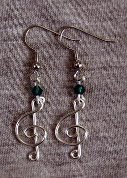 Silver and Green Treble Clef Earrings by craftymama
