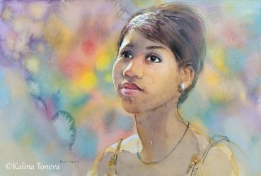 Young Aretha Franklin by kalinatoneva