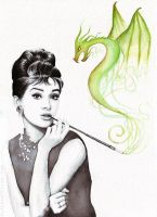 Audrey Hepburn and her Magic Dragon by Olechka01