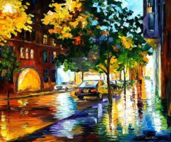 Rainy Jerusalem by Leonid Afremov by Leonidafremov