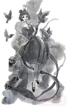 A Witch with Pigeons by nati