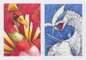 Ho-Oh and Lugia ACEO