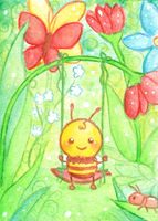 ''Flower Swing'' ACEO card by Mellymiew