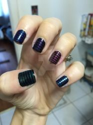 Stripey glitter nails by Goddess-Suicune