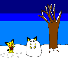 Pichu Snow scene by 1Meh1
