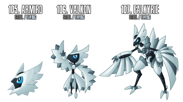 Fakemon: 105 - 107 by DrCrafty