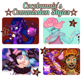 Commissions [Style 1, 2, and 3 Open!~] by cocobunnie