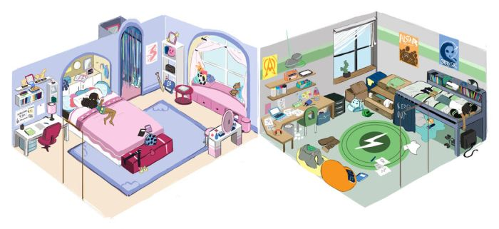 Twins' rooms by ActionKiddy