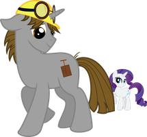Blast Box and Rarity (Commission) by lightningtumble