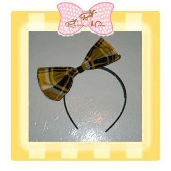 Large yellow plaid bow by RococoNeko