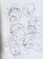 Sonic the Hedgehog sketches by ThePandamis