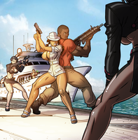 Commission: Xio and Solo surrounded on the pier by firstedition