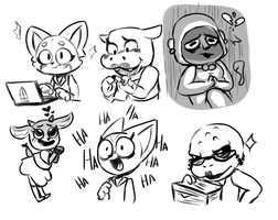 Aggretsuko Co Workers by Turph