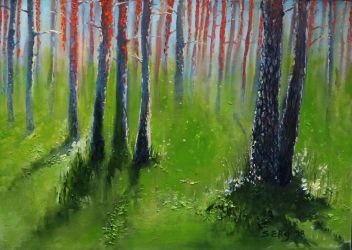 Polva pine forest in South Estonia, oil painting by DoodleWithGlueGun