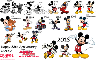 The Evolution of Mickey Mouse - 88th Anniversary by IkaMusumeFan06