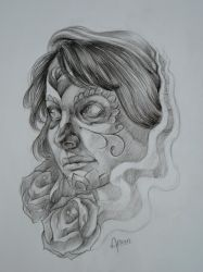 sugar skull  lady by ZOOMZOOMMM