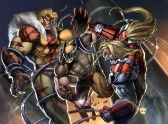 Sabertooth vs Wolverine vs Omegared (colored) by grandizer05
