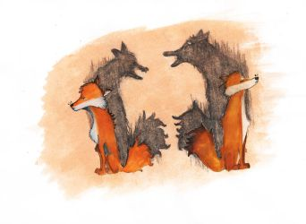 Foxes in Conflict by Jackette11011