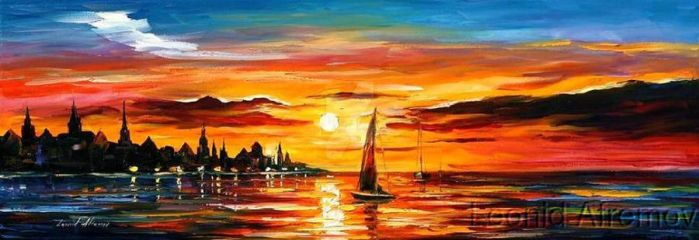 The Amber Evening by Leonid Afremov by Leonidafremov