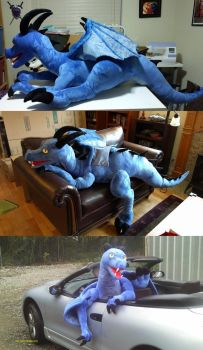 Giant blue dragon plush with joints by Bladespark