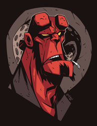 Hellboy Head Sketch by DerekLaufman